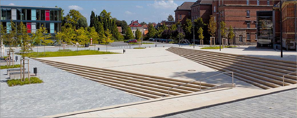 Betonpflaster und Betonstufen, Fachhochschule Lippe in Detmold
