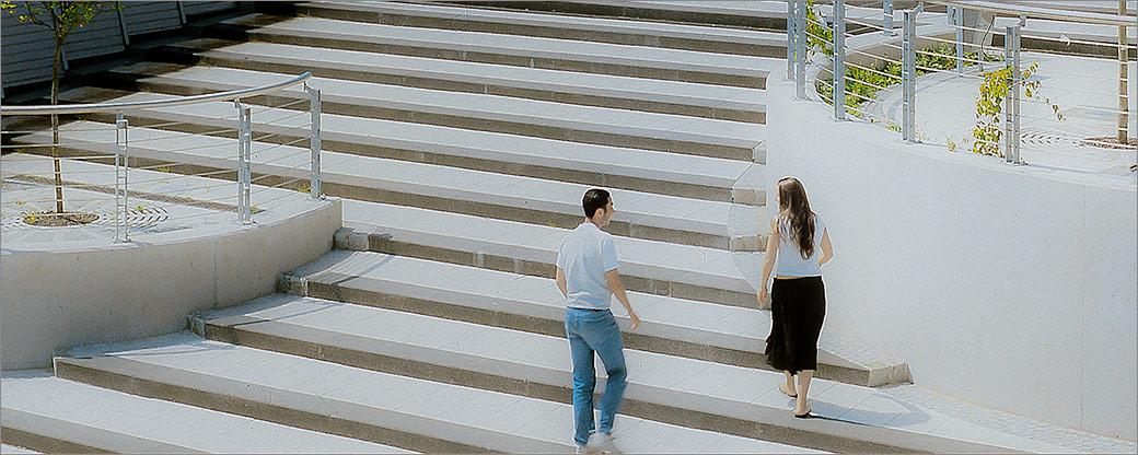 Treppenanlage aus Betonstufen